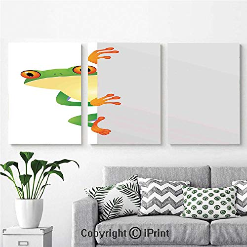Canvas Prints Modern Art Framed Wall Mural Funky Frog Prince with Big Eyes on The Wall Camouflage Nursery Reptiles Decor for Home Decor 3 Panels,Wall Decorations for Living Room Bedroom Dining Room