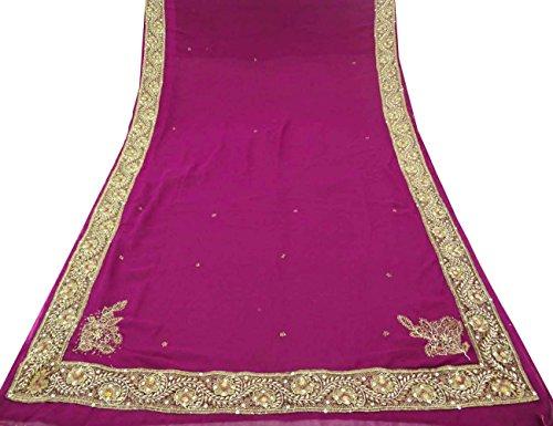 Vintage Indian Saree Hand Beaded Fabric Wrap Decor Craft Sarong Purple Sari 5YD