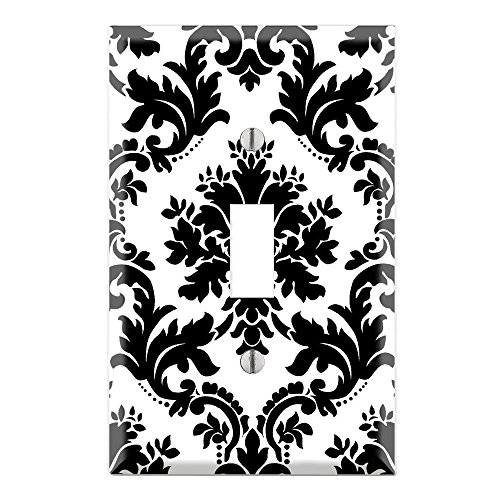 Damask Light (Single Toggle Wall Switch Cover Plate Decor Wallplate - Black and White)