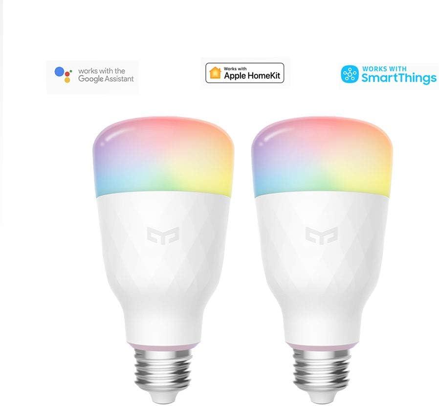 Bombilla Wifi Yeelight 16 millones de colores E27 8.5W RGB regulable 800lm Luz blanca Aplicación inteligente para el hogar Control remoto (2-Pack)