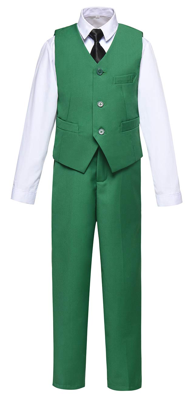 Boys Vest and Pants Set Kids Suit for Boy Formal Tuxedo Dresswear Outfit Green Size 7