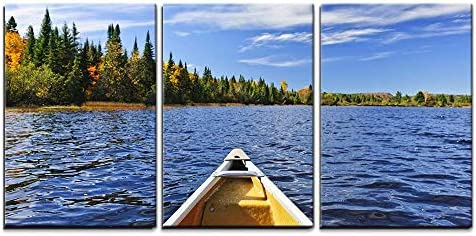 Bow of Canoe on Lake of Two Rivers Ontario Canada x3 Panels