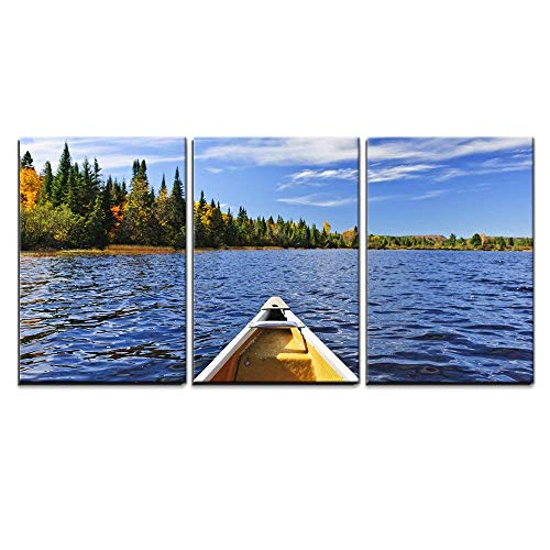 wall26 - 3 Piece Canvas Wall Art - Bow of Canoe on Lake of Two Rivers, Ontario, Canada - Modern Home Decor Stretched and Framed Ready to Hang - 24