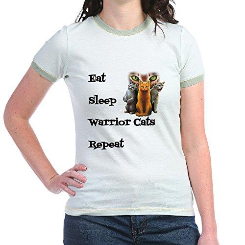 (CafePress - Eat Sleep Warrior Cats Repeat T-Shirt - Jr. Ringer T-Shirt, Slim Fit 100% Cotton Ringed Shirt Mint/Avocado)