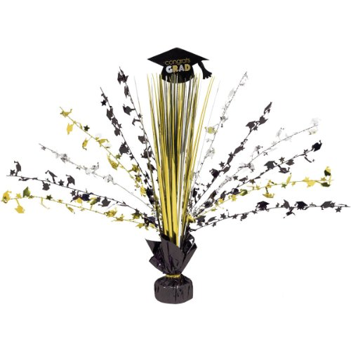Black/Silver/Gold Graduation Centerpiece - Centerpiece Spray Gold