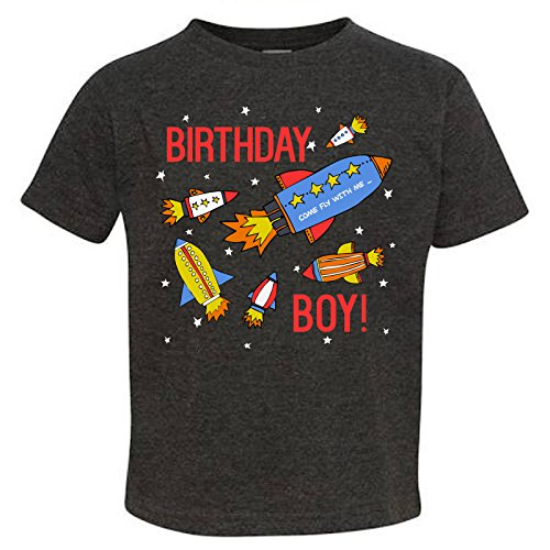 - Tiny Expressions Toddler Birthday Boy Space Rocket Shirt (Dark Grey, 3T)