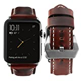 top4cus Genuine Leather Replacement iwatch Band with Secure Metal Clasp Buckle for Apple Watch,compatible with Series 1, 2, 3(brown, 42mm)