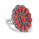 American West Genuine .925 Sterling Silver Red Coral Cluster Ring