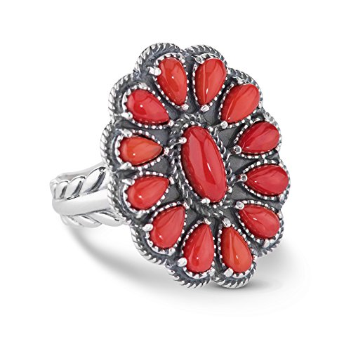 (American West Sterling Silver Red Coral Gemstone Cluster Ring Size 7)