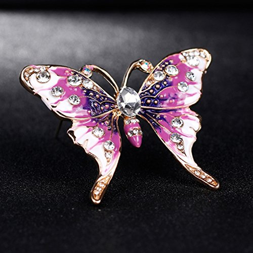 Finance Plan Women Retro Butterfly Multicolor Enamel Shiny Rhinestone Brooch Pin Jewelry Gift by Finance Plan (Image #3)