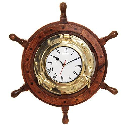 Urban Designs Nautical Ship's Wheel Brass Porthole Wall