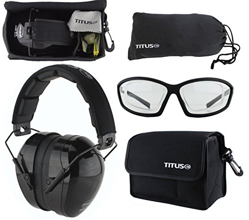 Titus Safety Earmuffs & Glasses Combo (Black - Contoured, G27 Clear Prescription Insert w/Competition Frame)