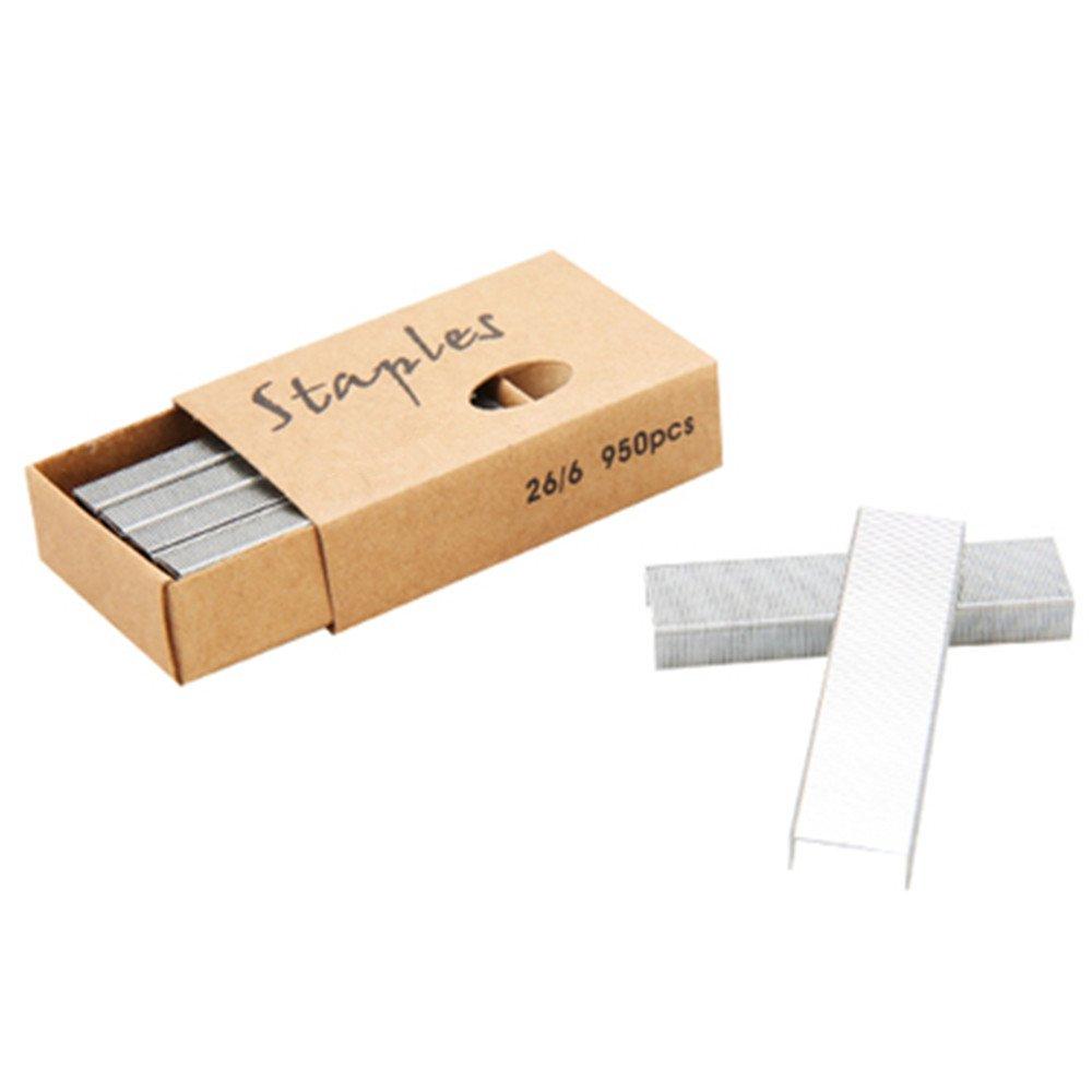 METAN 26/6 Standard Staples, 12mm Width 950/Box, 6 Boxes/Pack 5700 Count (Rose Gold) Mei Yi Tian