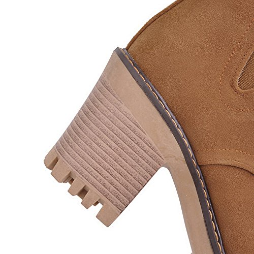 Yellow Suede Frayed Bandage ABL10582 Ankle Seams BalaMasa Boots High Womens pHnZF