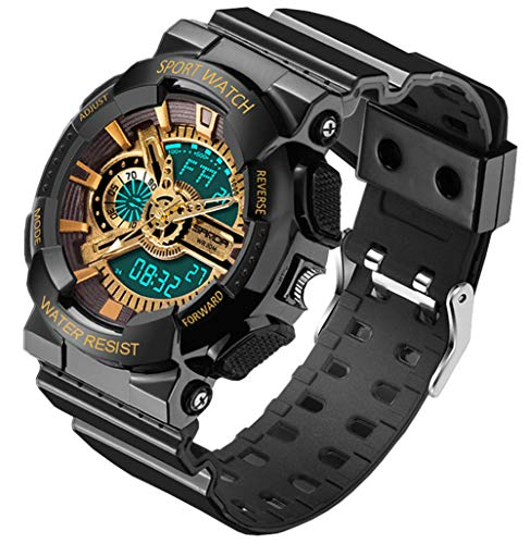 Water-Proof Digital-Analog Kids Outdoor LED Shock-Proof Sport Watches for Ages 7-15 Years Old Boys Girls (Gold)