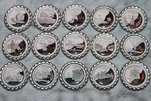 Geocache Coin Bottle Caps - 50 State Commemorative Quarters Set 2 (KS- NM) ()