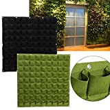 81 Pockets Planting Bags Wall Hanging Gardening Planter Outdoor Indoor Vertical Greening Grow Bags Flower Growing Container, Black