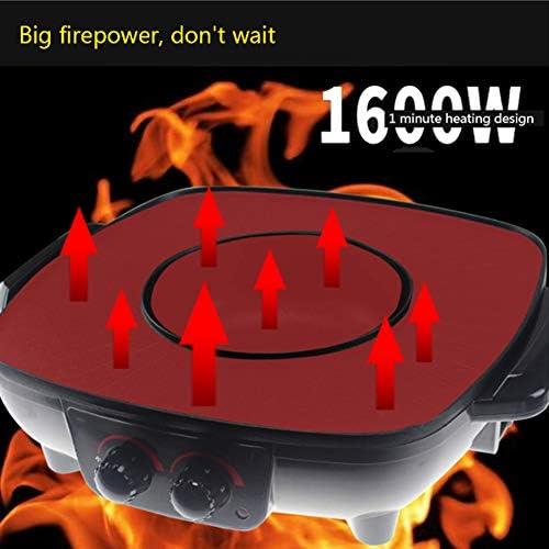 YJIUJIU Barbecue Hot Pot, Barbecue électrique Revêtement sain sans Fumée et Non-bâton Hot Pot Électrique Plaque de Cuisson électrique Double Contrôle de la Température, 1500W,Red