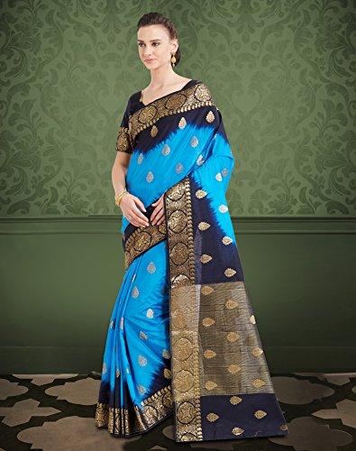 a03c605919 Viva N Diva Sarees for Women's Banarasi Latest Design Party Wear Shaded Blue  Colour Banarasi Art