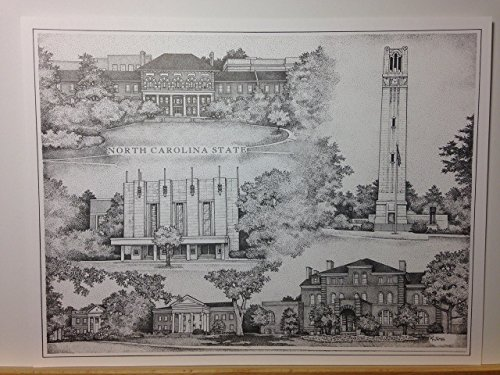 North Carolina State pen and ink collage print by Campus Scenes