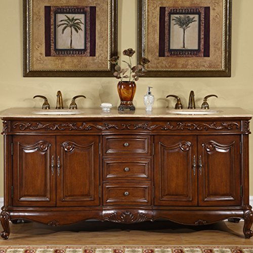 - Silkroad Exclusive HYP-8034-T-UIC-72 Travertine Stone Top Double Sink Bathroom Vanity with Bath Cabinet, 72