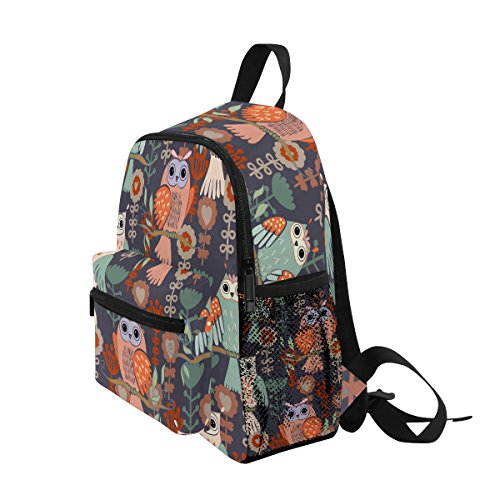 Bag Backpack on School Toddler Kids for Girls Pre ZZKKO Flower Branches Floral Owl Boy Animal Kindergarten Tree w8BnqFP4
