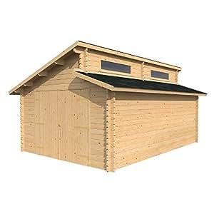 3,8m x 5,4m) garaje cabaña de madera–dos niveles techo, único ventanas–por Walton