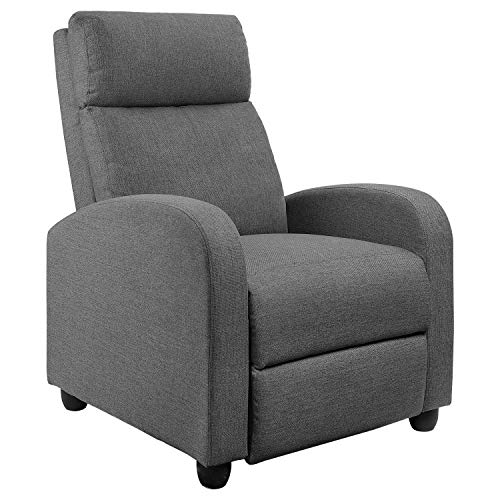 JUMMICO Fabric Recliner Chair Adjustable Home Theater Single Recliner Sofa Furniture with Thick Seat Cushion and Backrest Modern Living Room Recliners (Grey) (Yellow Chair Accent Gray And)