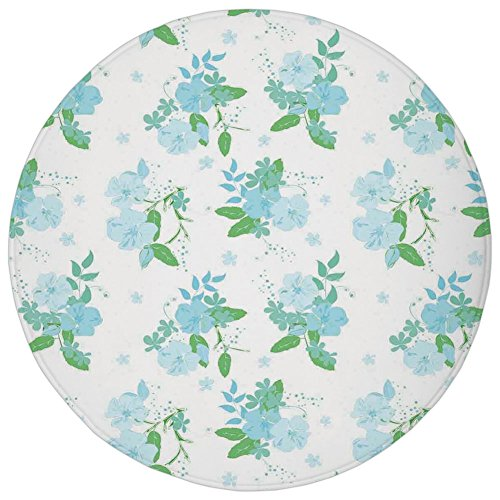 Round Rug Mat Carpet,Flower,English Country Style Blooming Spring Flowers and Leaves Design Print,Blue Green and White,Flannel Microfiber Non-slip Soft Absorbent,for Kitchen Floor Bathroom