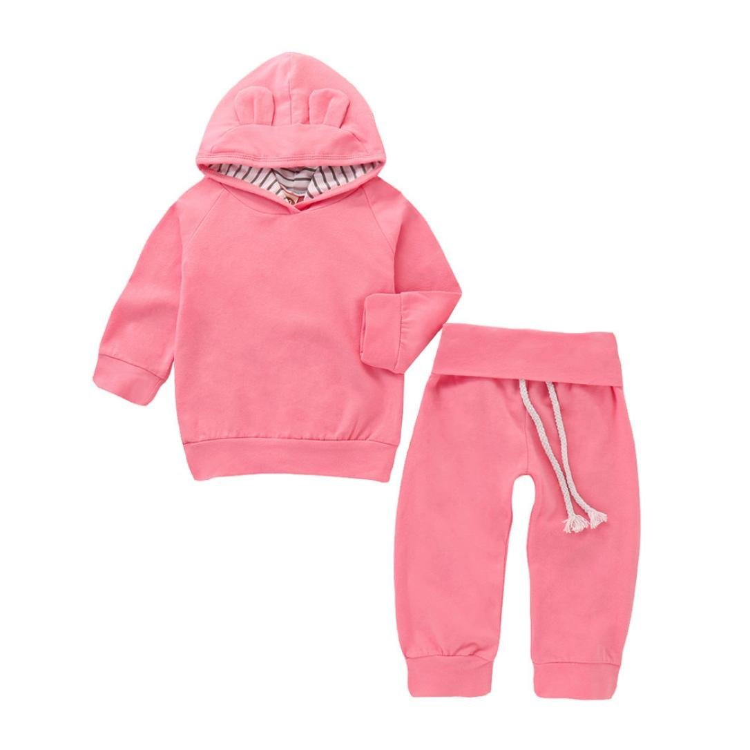 squarex Baby Clothes Sets, Boys Girls Solid Hoodie Cartoon Ears Tops+ Pants