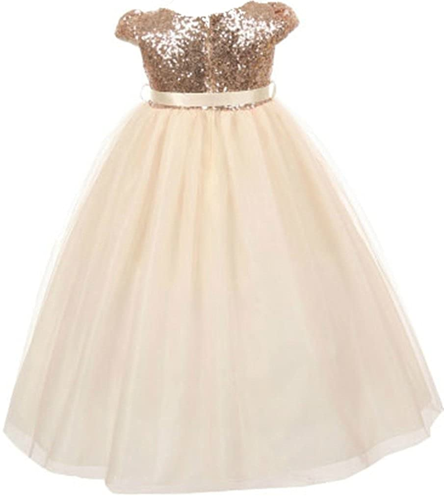 a4314dd41 Amazon.com: AkiDress Classic Baby Sequins Bodice Shinny Flower Girl Dress  for Little Girl: Clothing