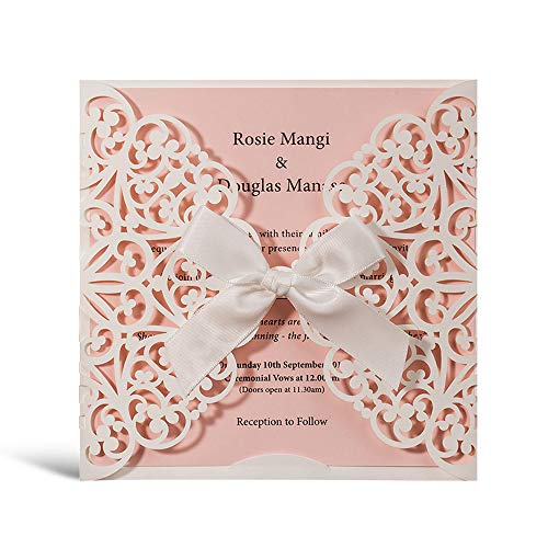 WISHMADE 1 White Square Laser Cut Wedding Invites, Printable Blank Invitation with Handmade Ribbon Bowknot and Pink Insert, for Quincenera Paraboda Birthday Party