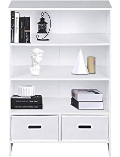 ASUUNY Small Bookcase 4 Tiers Floor Standing Bookshelf Rack 2 Cube Unit With Drawers For