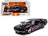 1969 Chevrolet Camaro with Blower Black and Pink Flames Bigtime Muscle Series 1/24 Diecast Model Car by Jada 30707