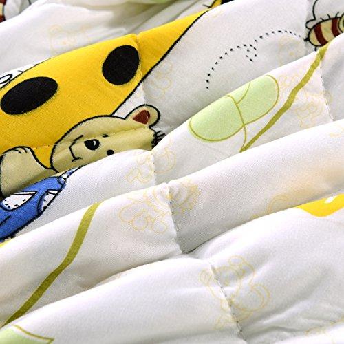 KFZ Summer Quilt Comforter Bedspread for Bed Breathable BDD 4 Sizes With Cartoon Animals Rabbit Giraffe Bear Pretty Flamingo Designs For Children Adult One Piece (Giraffe Bear,Yellow, Queen,79''x91'')