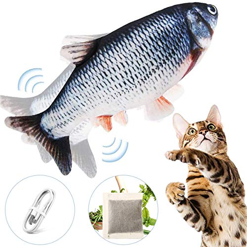 Floppy Fish Cat Toy – Cat Toys for Indoor Cats, 11″ Interactive Catnip Toys for Cats, Realistic Plush Simulation Moving Fish Cat Toy, Washable, Perfect for Cats Kittens to Bite, Chew and Kick