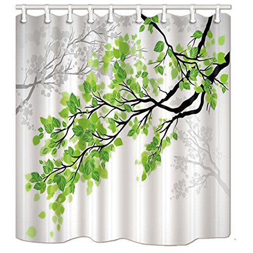 (KOTOM Nature Shower Curtain, Green and White Leaf on Tree Branch Art Printing, Polyester Fabric Bath Curtain for Bathroom, 69X70in, Bath Accessories 12 Hooks)