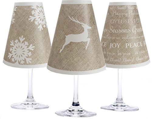 di Potter WS238 Holiday Burlap Paper White Wine Glass Shade (Pack of -