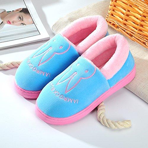 Y-Hui inverno cotone maschio pantofole in casa arredamento interno femmina scarpe caldo inverno di spessore non inferiore di slittamento paio di stivali,40-41 (Fit per 39-40 piedi),Azure (coniglio)