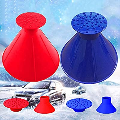 Lemonfreed Ice Scraper-Round Car Windshield Snow Scraper-Magic Funnel Snow Removal Tool Cone-Shaped Windshield Ice Scraper(2 Pack): Automotive