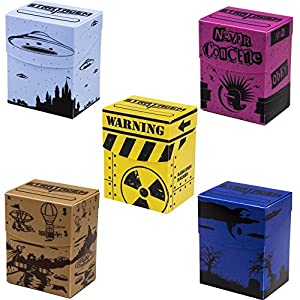 Deluxe Deckbox Multipack with Dividers – Set of 5 Customized Extra Large Deck Boxes for Trading Card Game & Collectible Storage – Includes Plastic Dividers, Fits 90+ Sleeved Cards
