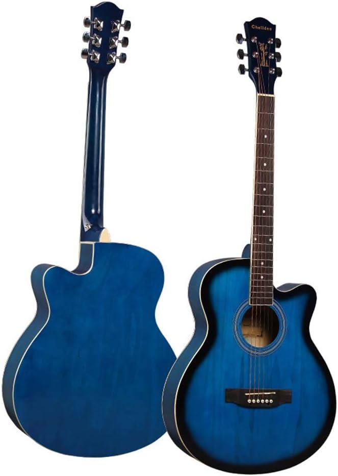 LCDY Guitarra Acústica De Haya De 40 Pulgadas Practica Principiante Estudiante Adulto Instrumento De Guitarra. Falta Principiantes Guitarra De Madera Lateral Color Brillante