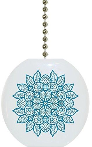 Oriental Teal Blue Mandala Solid Ceramic Fan Pull Ceramic Ceiling Fan Pull