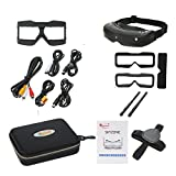 Skyzone SKY02S V+ 3D 5.8G 48CH FPV Goggles Video Glasses Tracker Head Tracking HDMI-IN Channel DVR (No Transmitter No Camera )- Black