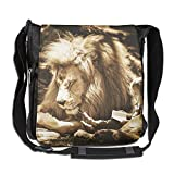 SARA NELL Messenger Bag,africa Lion With Girl,Unisex Shoulder Backpack Cross-body Sling Bag