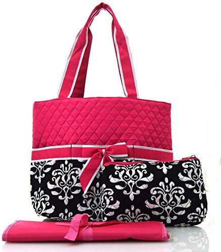 Hot Pink Black Diaper Bags - 4