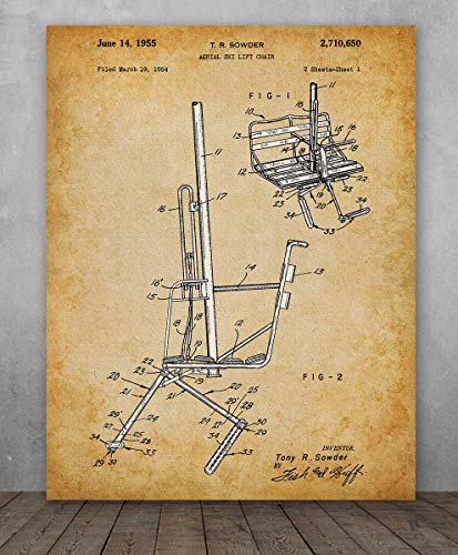 (Poster - Ski Lift Chair Patent - Choose Unframed Poster or Canvas - Makes a Great Ski Lodges and Mountain Cabins Decor)