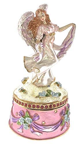 (Angel Fairy Jewelry Trinket Box Bejeweled Swarovski Crystals Enameled HInged)