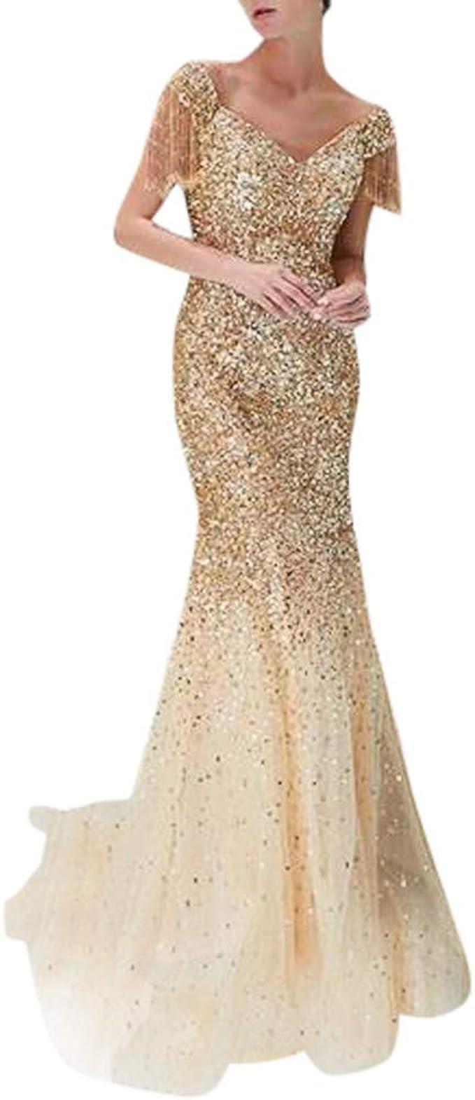 MAYOGO Festliche Kleider Abschlussball Kleider Damen Lang Gold