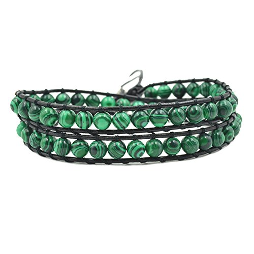- Handmade Faux Leather Double Wrap Around Bead Bracelet Adjustable 6mm Green Malachite Round Stone